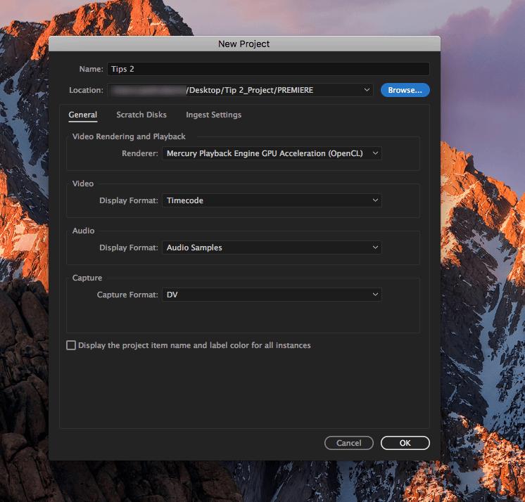 Como criar um projecto no Adobe Premiere - screen3 criar projecto Adobe Premiere