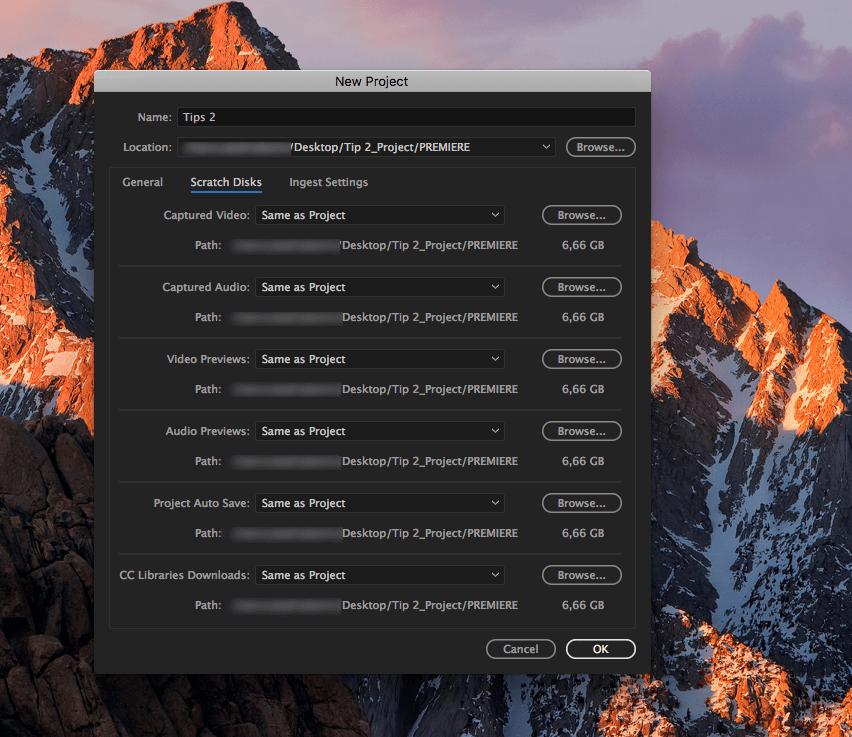 Como criar um projecto no Adobe Premiere - screen 5 criar projecto Adobe Premiere