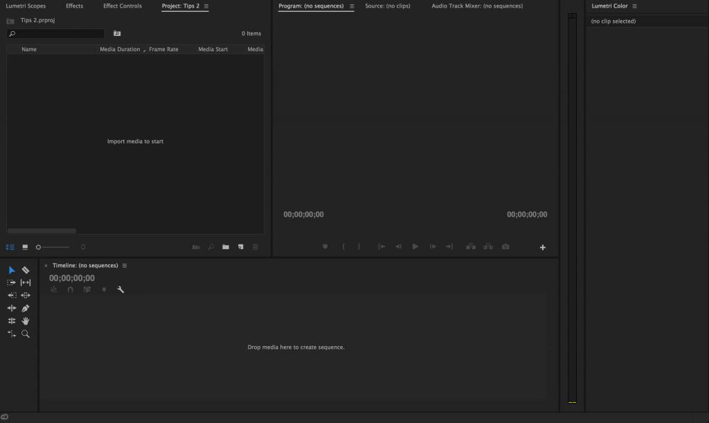 Como criar um projecto no Adobe Premiere - screen 6 criar projecto Adobe Premiere  Criar projecto no Adobe Premiere | Adobe Premiere Tutorial licao 2 Premier open 1024x611
