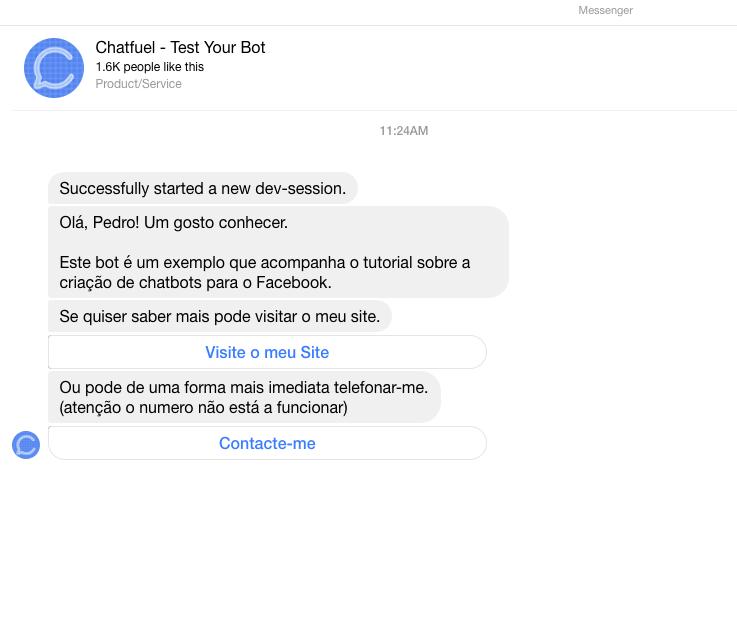 ChatFuel Screen Shot Videogeek chatbot facebook