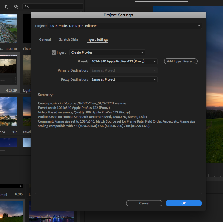 Project settings como usar proxies adobe premiere