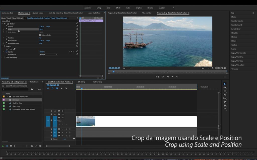 Como Fazer um Crop no Adobe Premiere Pro | Tutorial Adobe Premiere Pro | SCALE POSITION
