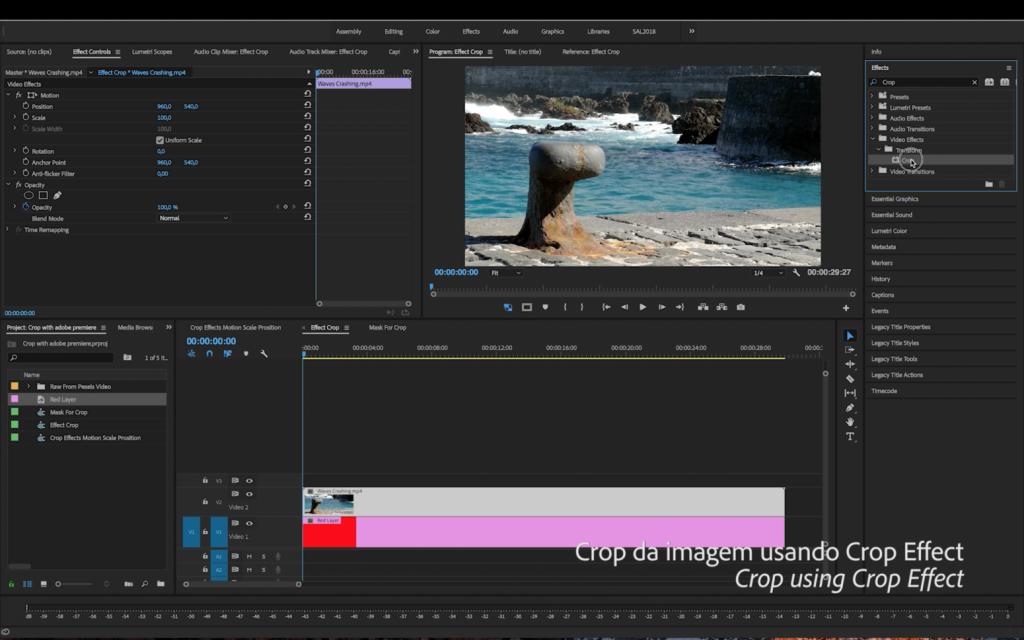 Como Fazer um Crop no Adobe Premiere Pro | Tutorial Adobe Premiere Pro |Crop Effect