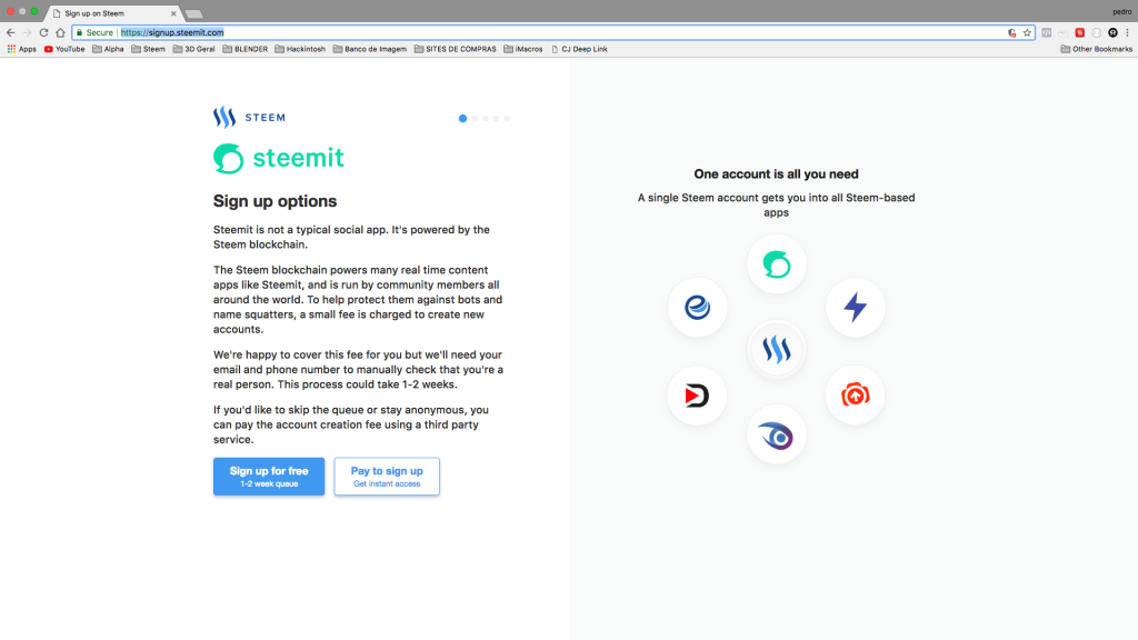 signup Social Media Blockchain e SEO | Steem | Steemit | Busy