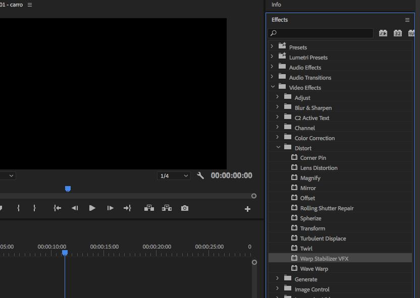 Como estabilizar imagens tremidas no Adobe Premiere painel efeitos