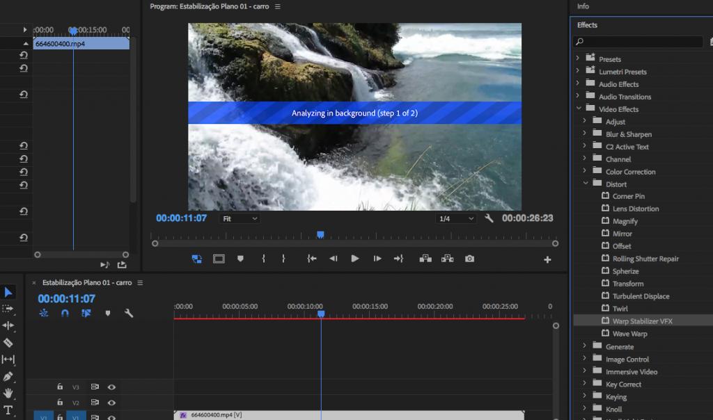 Como estabilizar imagens tremidas no Adobe Premiere analise