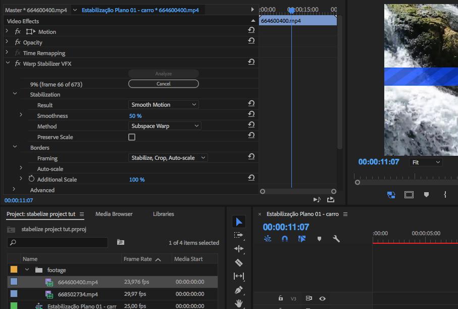 Como estabilizar imagens tremidas no Adobe Premiere quadro effects control