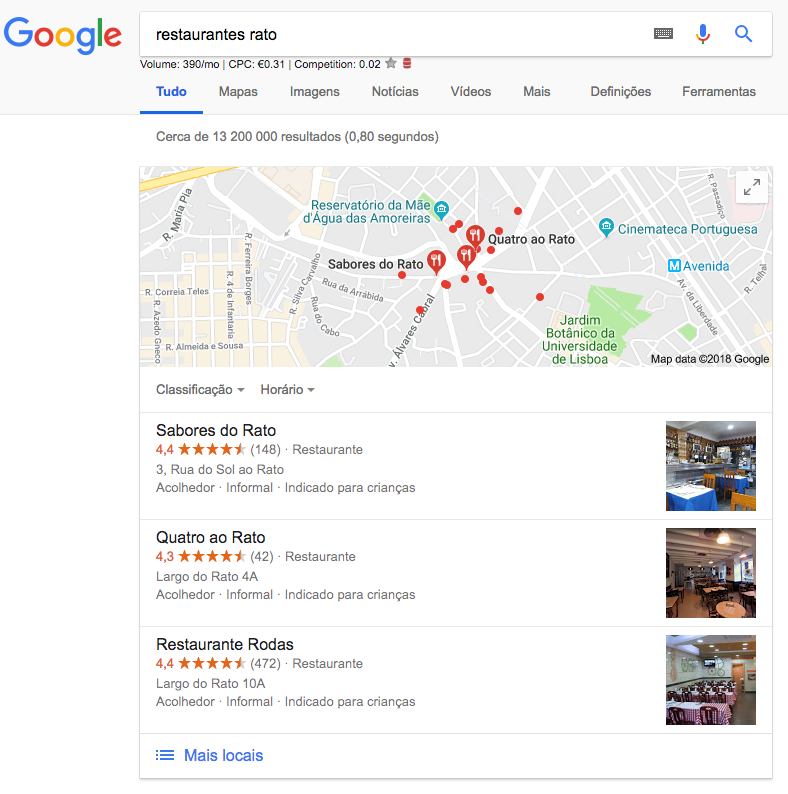 Google My Business Local Pack  O que é o Local Pack e porque nos devemos preocupar? Screen Shot 2018 10 15 at 13