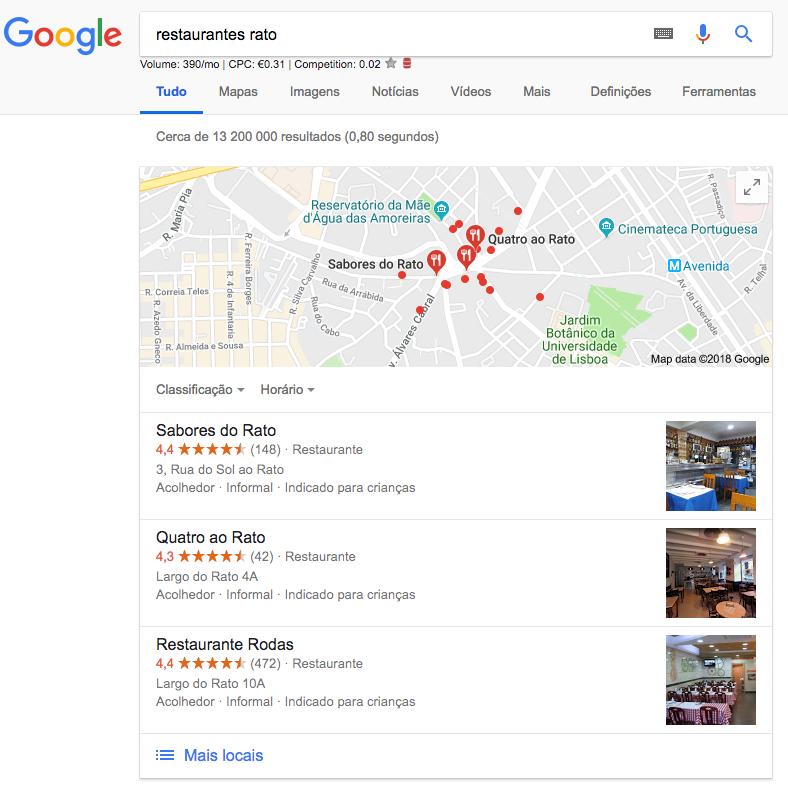 Google My Business Local Pack  O que é o Local Pack e porque nos devemos preocupar? Screen Shot 2018 10 15 at 13