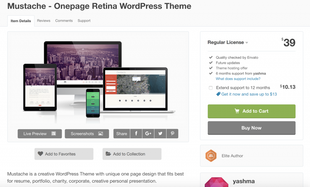 Os 7 Melhores temas responsivos de Wordpress para 2019 mustache 1024x617