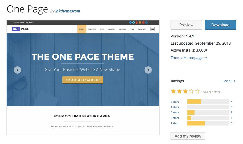- one page 1024x608 - Os 7 Melhores temas responsivos de Wordpress para 2019